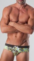 Geronimo Mens Swimwear Low Rise Brief Trunks Blue Brown 15022